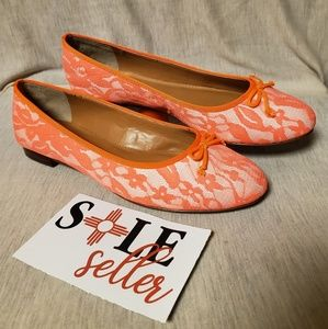 j crew womens neon orange lace flats sz7